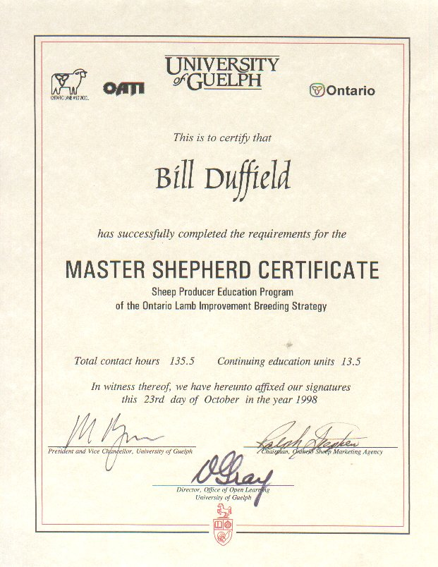 About certificates this next certificate was for completing a course at the university of guelph which took approximately 4 years once a month on week ends yadclub Gallery